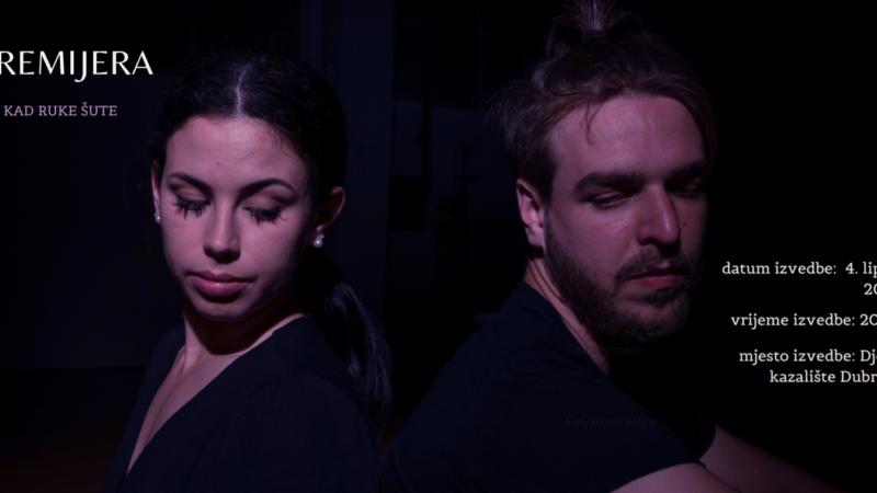 'Kad ruke šute' plesna predstava čija je dramaturško-koreografska koncepcija nastala na temelju stručno – istraživačkog teksta o partnerskim odnosima